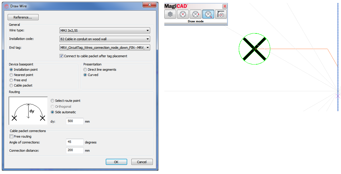Wire Routing and Handling of Supply Cable Routes - MagiCAD